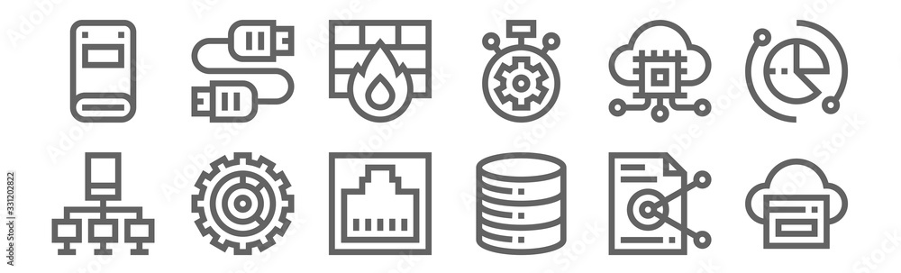 Fototapeta set of 12 database and servers icons. outline thin line icons such as sync, database, data, hosting, firewall, plug in