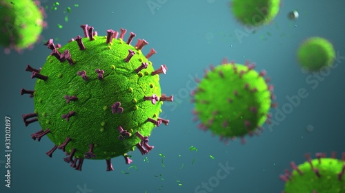 Obraz Corona virus on the blue background. 3d illustration. - fototapety do salonu