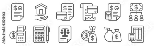 Photo set of 12 accounting icons