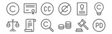 Set Of 12 Copyright Icons. Out...
