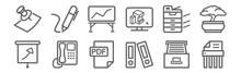 Set Of 12 Office Equipment Ico...