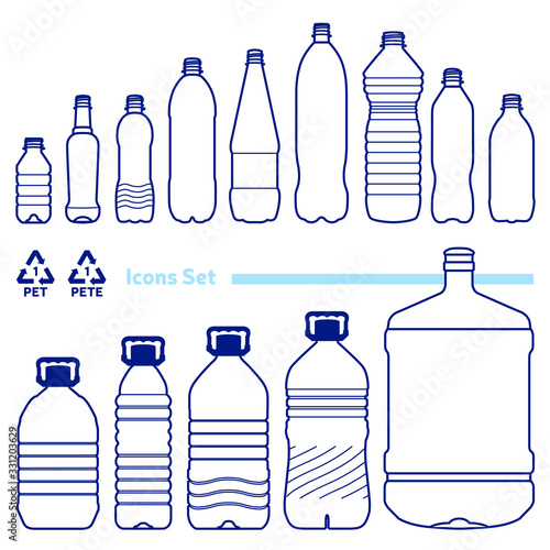 Vászonkép Recycling code 1 (PET - Polyethylene terephthalate) outline icons set