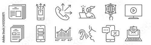 set of 12 advertising icons Fototapete