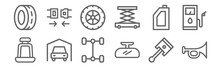 Set Of 12 Automobile Icons. Ou...
