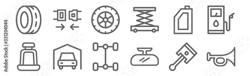 Fotomural set of 12 automobile icons