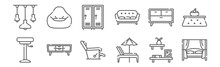 Set Of 12 Furnitures Icons. Ou...