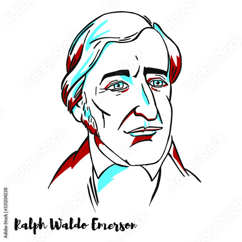 Obraz Ralph Waldo Emerson engraved vector portrait with ink contours. American essayist, lecturer, philosopher, and poet who led the transcendentalist movement of the mid-19th century. - fototapety do salonu