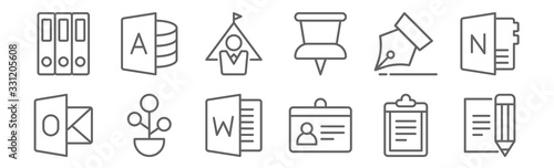 set of 12 workspace support icons Canvas Print