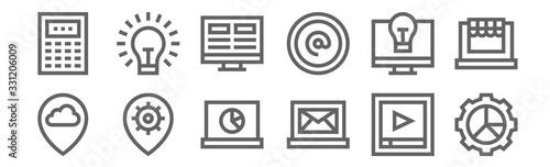 Photo set of 12 digital marketing icons