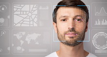 Security Check. Scan Of Young Guy Against Virtual Screen With Data, Copy Space. Panorama