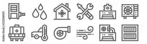 set of 12 air conditioner icons Canvas Print