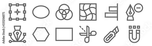 set of 12 editing tools icons Canvas Print