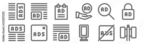 Fototapeta set of 12 advertising icons. outline thin line icons such as billboard, banner, remove ads, ads, poster, ads obraz