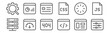 set of 12 programming icons. outline thin line icons such as web, coding, web optimization, loading, landing page, dashboard