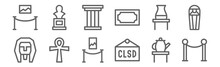 Set Of 12 Museum Icons. Outline Thin Line Icons Such As Barrier, Closed, Ankh, Pottery, Pillar, Statue
