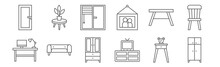 Set Of 12 Furniture Icons. Out...