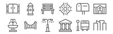 Set Of 12 City Icons. Outline ...
