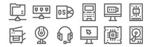 Set Of 12 Computer Icons. Outl...