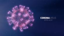Vector Conceptual Coronavirus Illustration. 3d Virus Form On A Abstract Background. Pathogen Visualization. Design For Banner Information, Flyer, Poster, Etc.