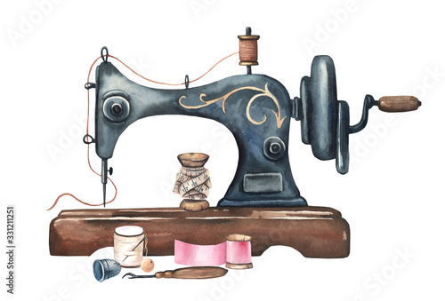 Fotografia, Obraz Watercolor vintage sewing machine