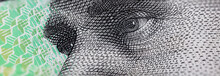 Macro Photography Of The Eyes Of AB 'Banjo' Paterson On The 10 Dollar Australia Banknote. Extreme Close Up To A Australian 10 Dollars Note. Polymer Currency Of The Reserve Bank Of Australia
