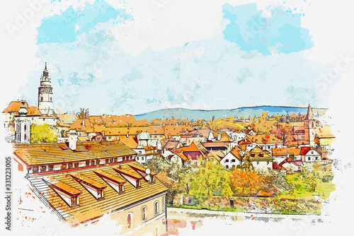 Watercolor Beautiful landscape view in Cesky Krumlov, Czech republic with flower landmarks of Czech.