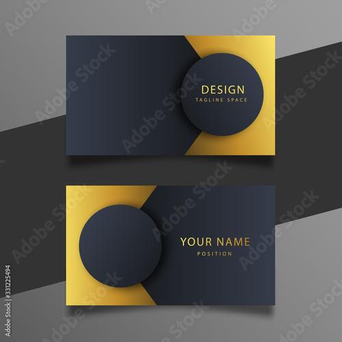 Fényképezés Elegant minimal black and gold business card template.