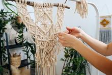 The Girl's Hand At Macrame Weaving Work
