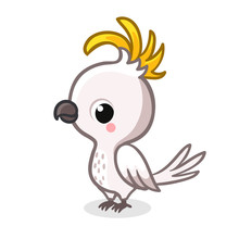 Cute Parrot In Cartoon Style I...