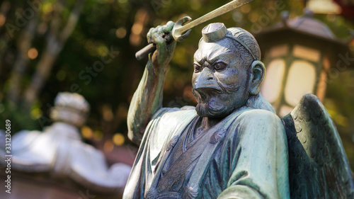 A statue of Tengu, supernatural being from japanese legends Canvas Print