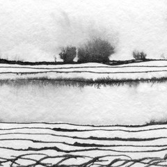 Panel Szklany Minimalistyczny Abstract landscape ink hand drawn illustration. Black and white ink winter landscape with river. Minimalistic hand drawn illustration card background poster banner. Hand drawn watercolor black lines.