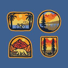 Bicycle Nature Polar Bear Nature Wild Badge Patch Pin Graphic Illustration Vector Art T-shirt Design