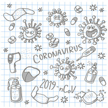 Cartoon Doodle Set Of Coronavirus Monsters, Thermometers, Tablets And Pills, Soap And Antiseptics. Black And White Scribble On A Checkered Notebook Sheet.
