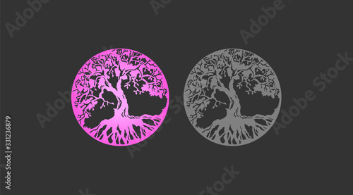 Photo Beautiful set of the tree of life pink gradient and gray silhouette of a tree with roots set
