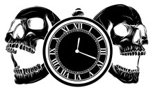 Pocket Watch With Human Skull,...