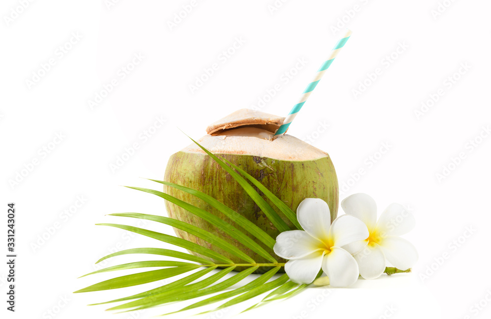 Fototapeta Fresh coconut drink with plumeria flower and paper straw isolated