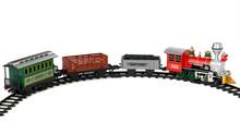Toy Train On Tracks Isolated On White Background