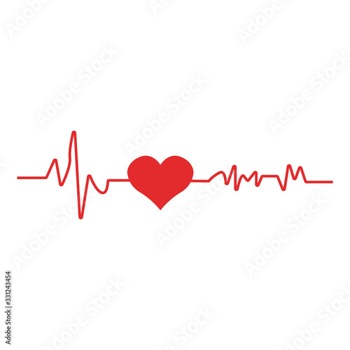 Heart pulse. Red and white colors. Heartbeat lone, cardiogram. Canvas Print