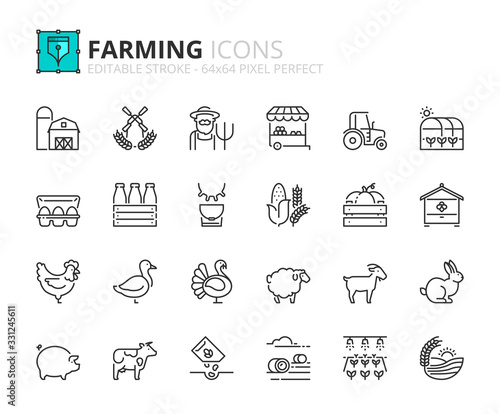 Obraz Simple set of outline icons about farming - fototapety do salonu