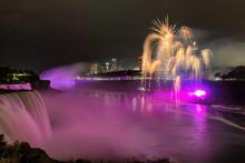 Niagara Falls Lit At Night By ...