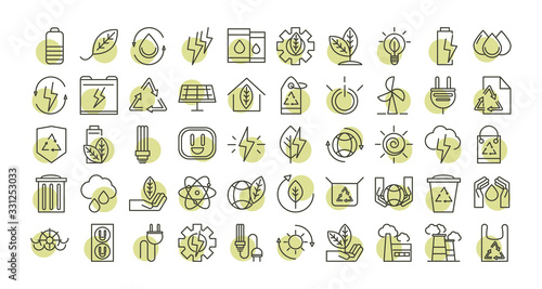 Cuadros en Lienzo sustainable energy alternative renewable ecology icons set line style icon