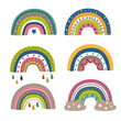 set of isolated colorful rainbows part 1 - vector illustration, eps