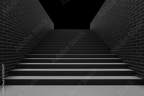 Black staircase in underground passage upward