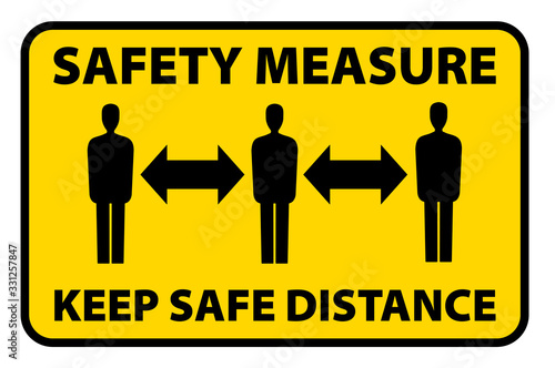 Fototapeta safety measure keep a safe distance sign, corona virus pandemic precaution vector illustration obraz