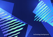 Abstract geometric composition with triangles and decorative wavy lines, dots. Modern tech background for your design.