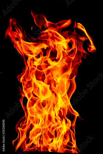 Fire flame set isolated on black isolated background - Beautiful yellow, orange and red and red blaze fire flame texture style Wallpaper Mural