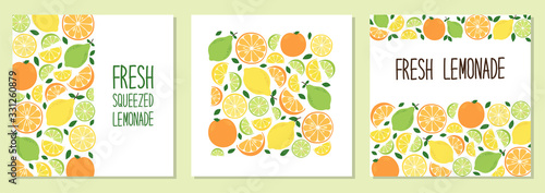 Cute set of Citrus Fruits Lemon, Lime and Orange backgrounds in vivid tasty colors ideal for Fresh Lemonade - 331260879
