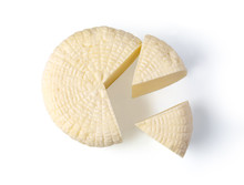 Cheese Wheel On White Background Isolated