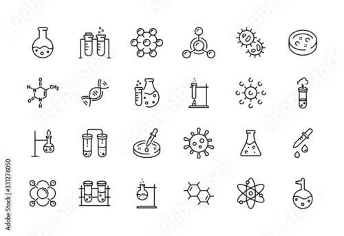 Obraz Medical science icons. Simple line chemistry virus lab set of medical analysis experiment, laboratory test flask, chemical formula and reaction tube. Vector illustration editable stroke - fototapety do salonu