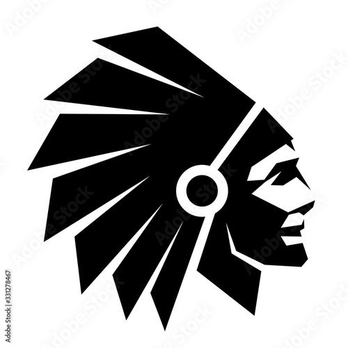Indian head on a white background Wallpaper Mural